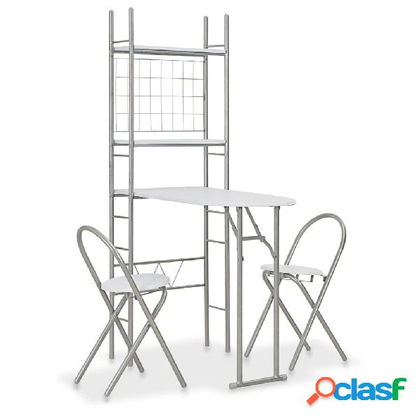 Vidaxl set tavolo sedie pieghevoli con scaffale 3pz mdf acciaio bianco