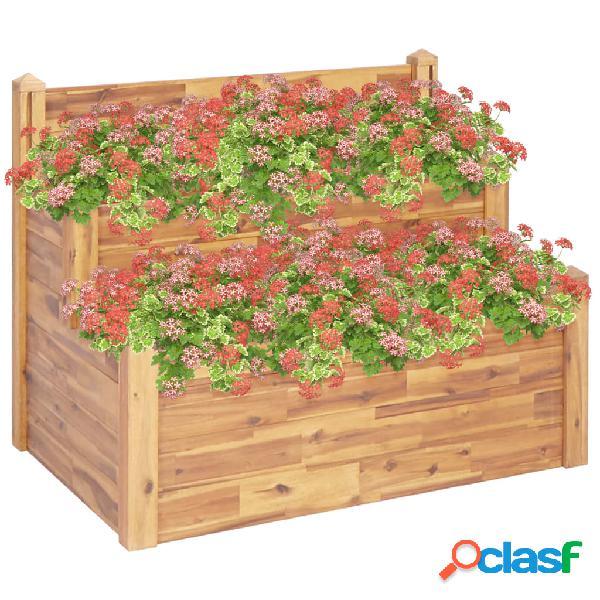 Vidaxl fioriera da giardino a 2 livelli 110x75x84cm massello di acacia