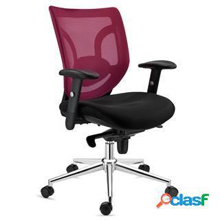 Sedia da ufficio lambo, supporto lombare, in color bordeaux