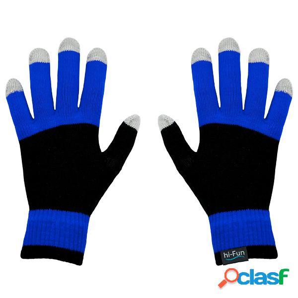 Guanti caldi donna per utilizzare per smarthphone tablet touch screen senza mai sfilarli con tessuto conduttivo sui polpastrelli colore blu