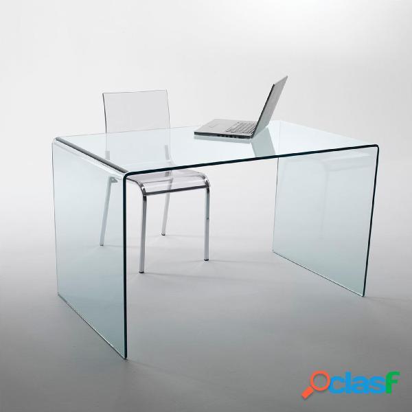 Tavolo scrivania in vetro curvato 125x70xh73 cm spessore 12 mm trasparente