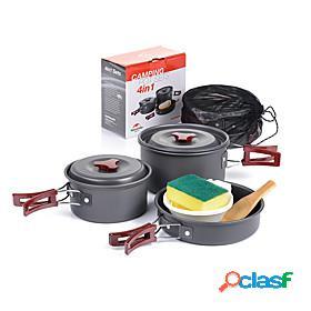 Naturehike camping cookware mess kit set 9pcs portable aluminium for 2 - 3 person outdoor camping / hiking hunting outdoor travel 2 camping pot 1 bamboo shov