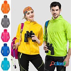 Per donna per uomo giacca impermeabile da escursione giacca da escursionismo giubbino anti-vento all'aperto tinta unica impacchettabile leggero traspirante asciugatura rapida giacca di pelle