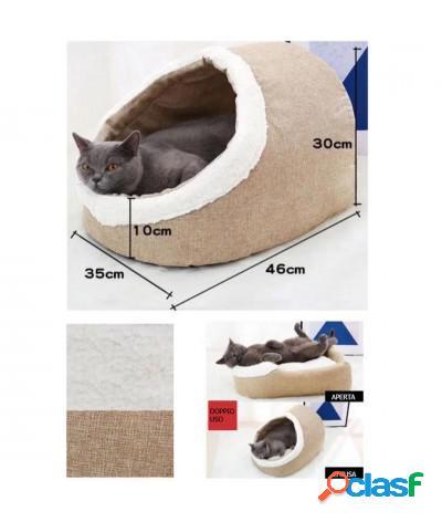 Cuccia per gatto e cane piccola taglia risvoltabile in peluche grigio