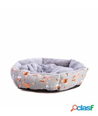 Cuccia con cuscino in peluche per cani e gatti 40x40x12 cm camel