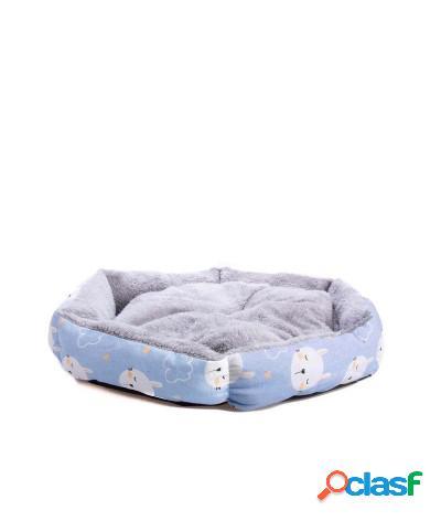 Cuccia con cuscino in peluche per cani e gatti 48x48x12 cm azzurro