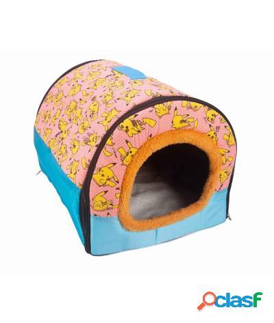 Cuccia risvoltabile in peluche per gatto e cane piccola 45x35x30 cm azzurro