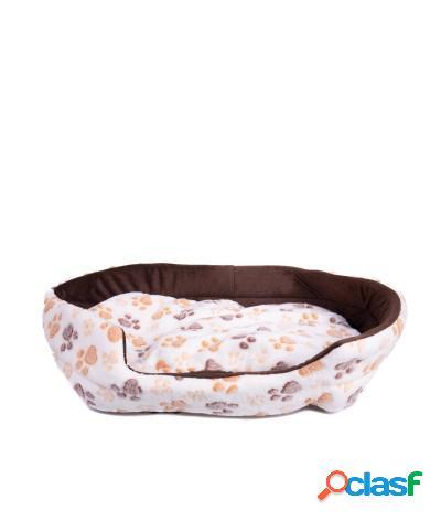 Cuccia con cuscino in peluche per cani e gatti 55x40x15 cm beige