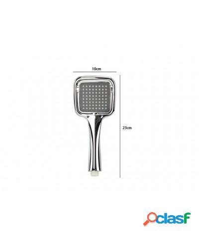 Soffione doccia 10x23 cm doccetta quadrata multigetto di 3 tipi regolabile e-59168