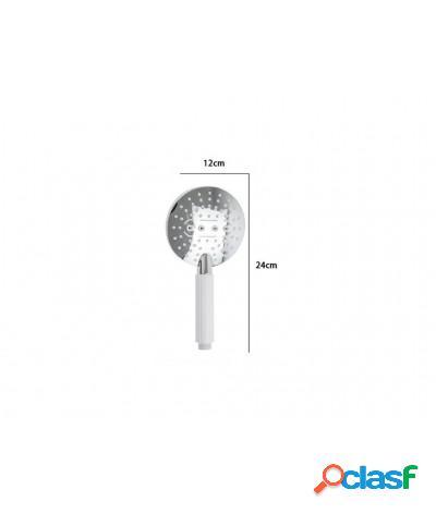 Soffione doccia 12x24 cm doccetta multigetto di 3 tipi regolabile e-59172