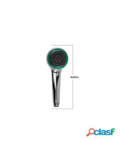 Soffione doccia 8x20 cm doccetta multigetto di 3 tipi regolabile e-69111