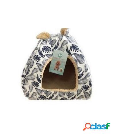 Cuccia imbottita a igloo large per cani e gatti 48x48x45 cm bianco