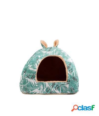 Cuccia imbottita a igloo medium per cani e gatti 38x38x35 cm verde