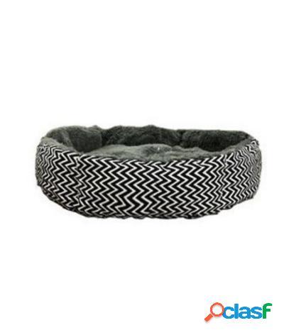 Cuccia con cuscino in peluche per cani e gatti 55x55x12 cm zebrato