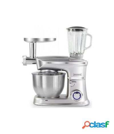 Robot da cucina 3 in 1 impastatrice planetaria e tritacarne 6.5l 1900w argento