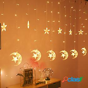 1pc moon star led curtain lights eu us plug christmas fairy garlands outdoor led twinkle string lights holiday festival decoration