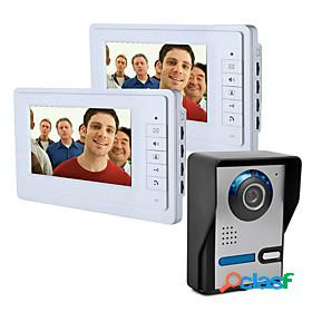 7 inch wire vidoe door phone home security intercom system unlock 1 camera 2 monitor p816fa12