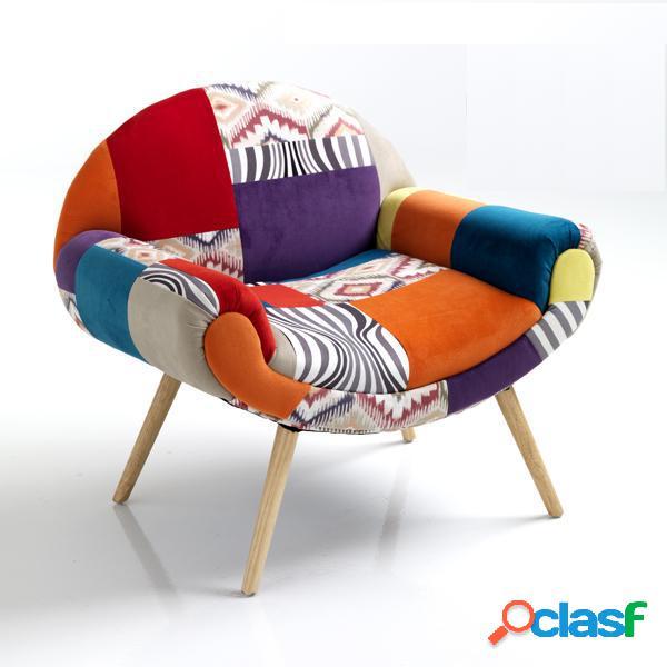 Poltroncina particolare patchwork colorata con braccioli