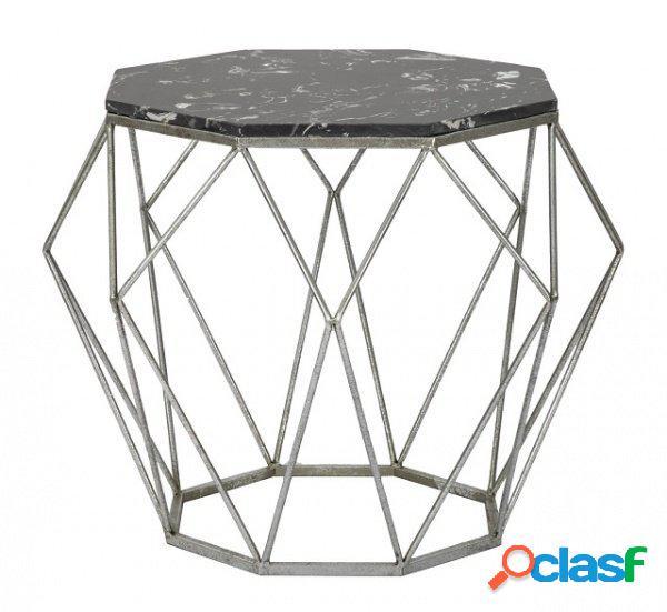Tavolino ottagonale da salotto finitura marmo nero