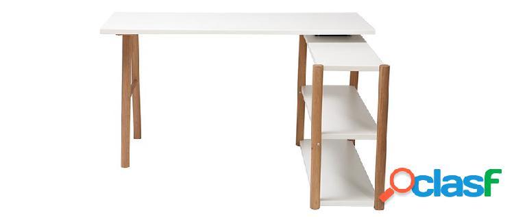Scrivania girevole design scandinavo bianco e quercia gilda