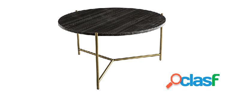 Tavolino basso rotondo in marmo nero sillon