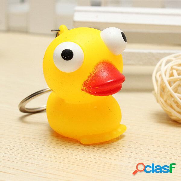 Giocattolo antistress con giocattolo antistress a forma di anatra gialla piccola con portachiavi