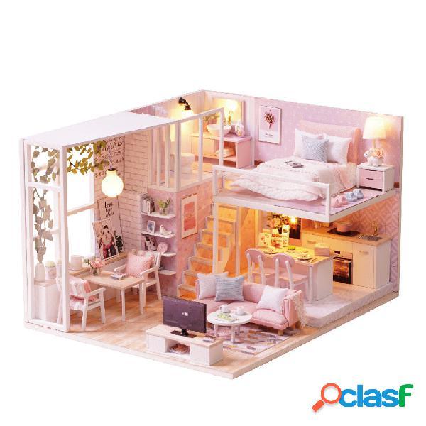 Cuteroom l-022 tranquilla casa di bambola fai-da-te diy con il giocattolo del regalo della copertura della luce della mo