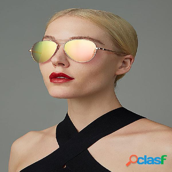 Donna casual fashion plus dimensioni full metal frame uv protezione occhiali da sole eleganti
