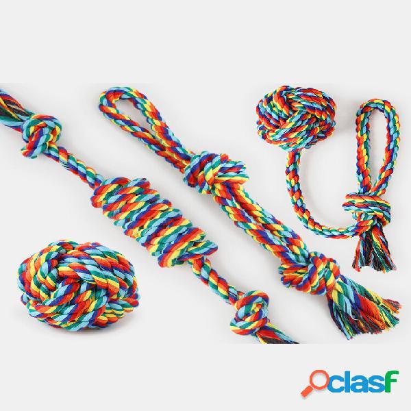 Giocattolo per animali domestici in corda di cotone arcobaleno 4 pezzi colorful giocattolo per cani resistente ai morsi