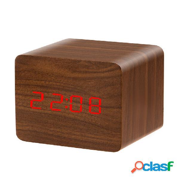 Led display sveglia elettronica in legno ad attivazione vocale temp display funzione di memoria disattivata