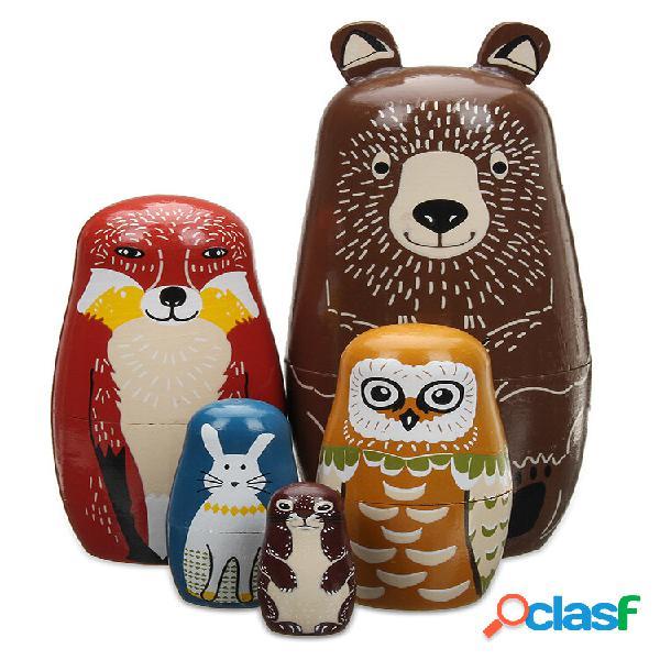 5 bambole di nidificazione in legno animale bambola russa giocattolo decor regalo per bambini