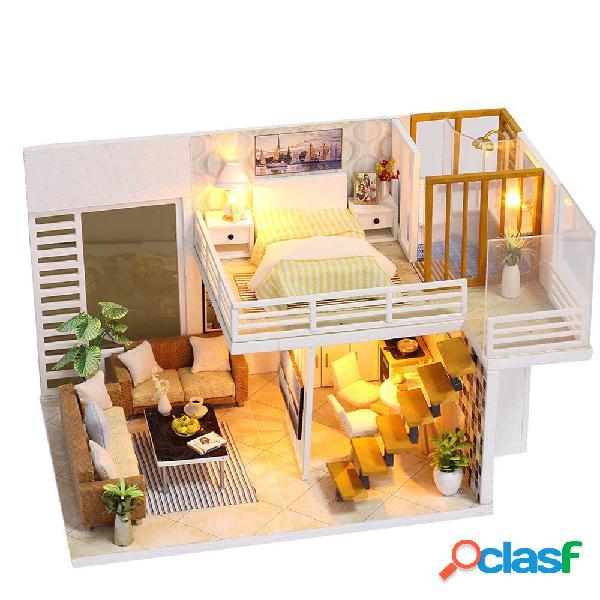 Casa delle bambole fai da te semplice ed elegan con giocattolo regalo copertura luce mobili