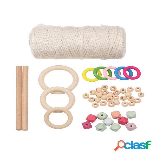 Un set di fioriere intrecciato cesto materiale fai da te pianta corda legno perline anello di legno set di combinazione