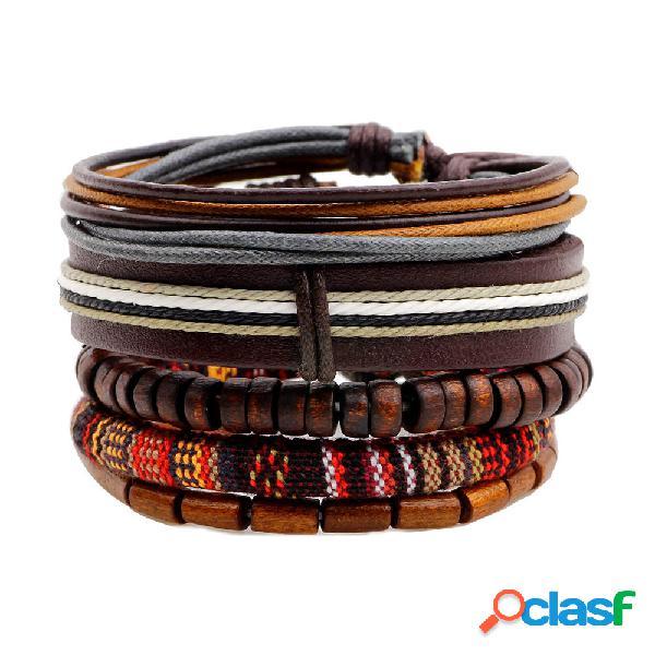 Donna casual braccialetto a multi-strati in pelle con perline di legno