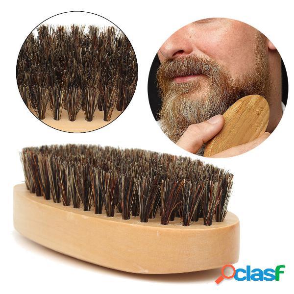 Barba da uomo in legno pennello baffi in setola di cinghiale in legno tondo duro pennello barbe da uomo capelli cura