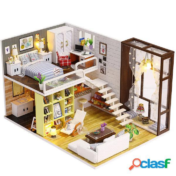 Iiecreate k-028 contracted city casa delle bambole fai-da-te con il giocattolo del regalo della copertura della luce del