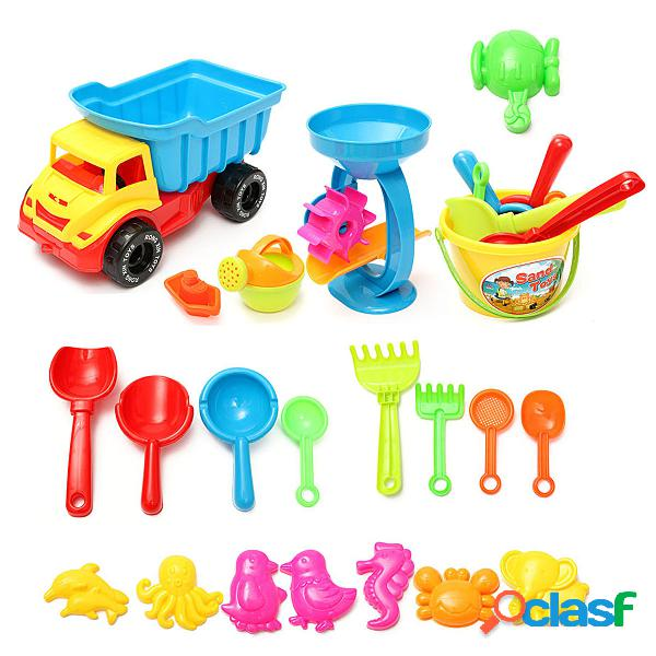 21pcs beach sand play toys set bucket rake sand wheel annaffiatoio mold