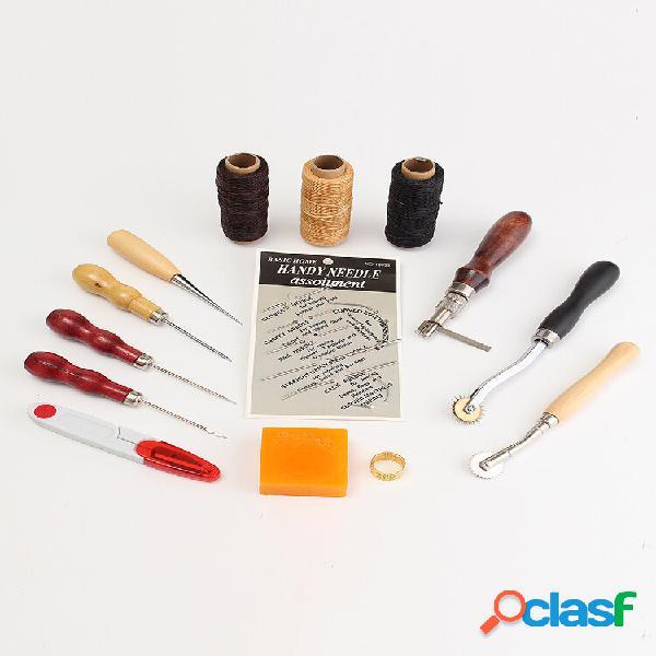 Strumenti set di strumenti per artigianato in pelle strumenti kit cucito a mano per cucire punteruolo ditale
