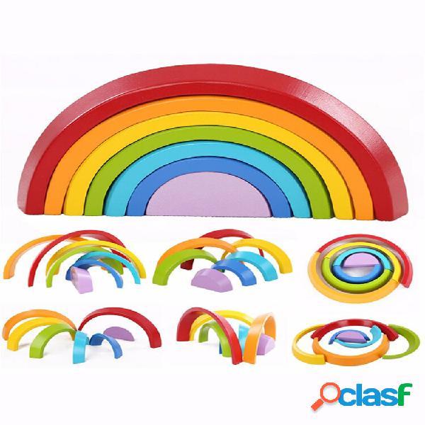 Giocattolo educativo building blocks arcobaleno in legno per l'apprendimento puzzle toy geometry mattoni (arcobaleno)