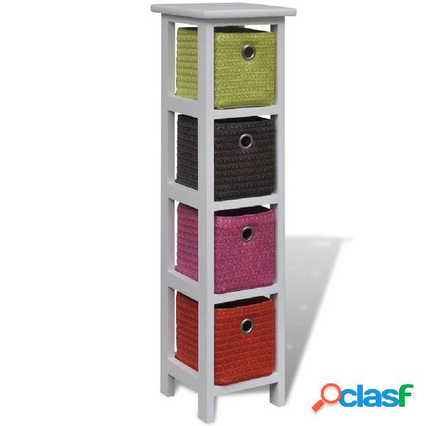 Vidaxl mobiletto con cestini multicolori in legno di paulownia