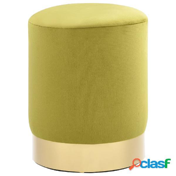 Vidaxl sgabello verde senape e oro in velluto