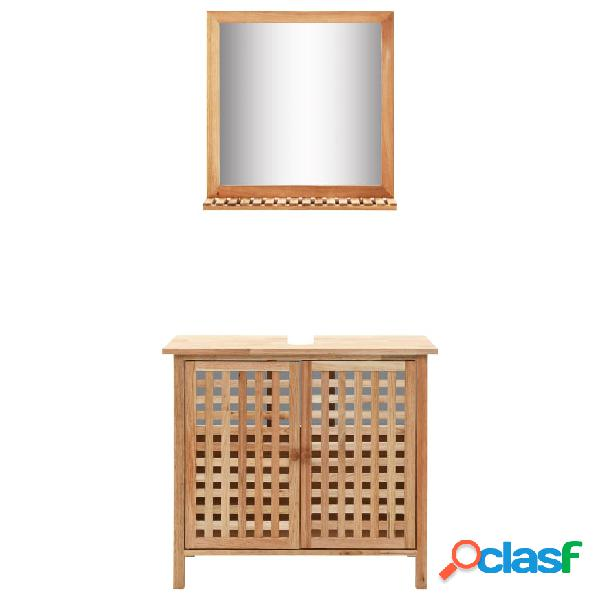 Vidaxl mobiletto per lavello con specchio in legno massello di noce
