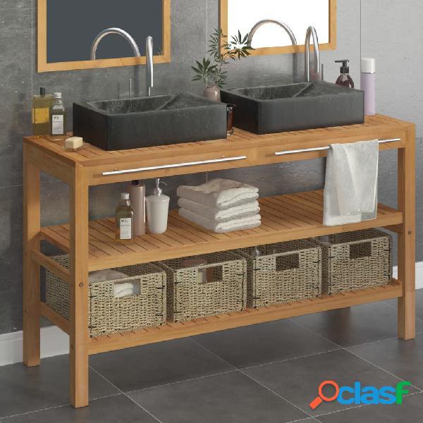 Vidaxl armadietto da bagno in legno di teak con lavabi in marmo nero