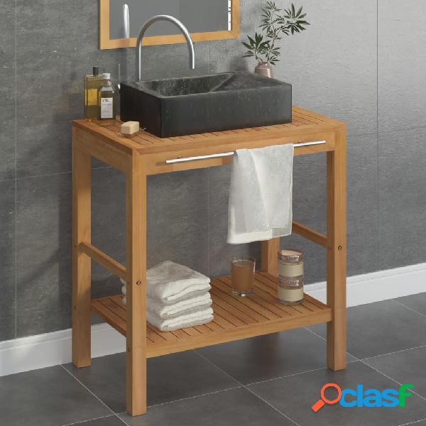 Vidaxl armadietto da bagno in legno di teak con lavabo in marmo nero