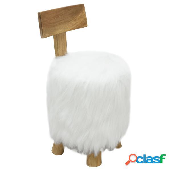 Vidaxl sgabello bianco in legno massello di teak