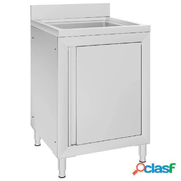 Vidaxl mobiletto da cucina con lavandino in acciaio inox 60x60x96 cm