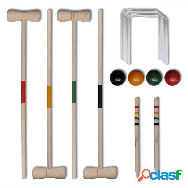 Vidaxl set gioco croquet di legno per 4 giocatori