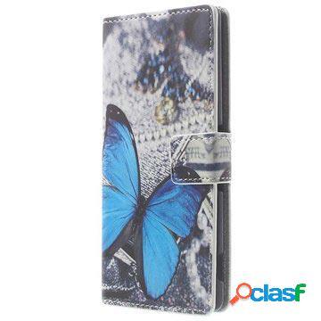 Custodia a portafoglio in pelle per sony xperia z3 - farfalla blu