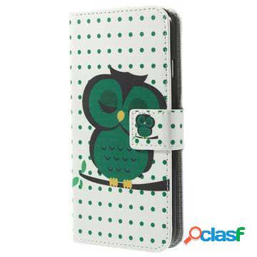 Custodia a portafoglio per iphone 6 / 6s - gufo verde