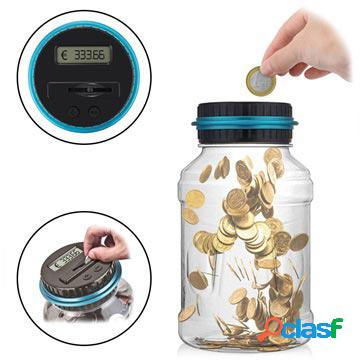 Contatore digitale di monete / barattolo per risparmiare denaro con display lcd - valuta euro